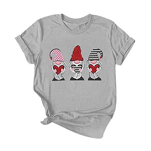 YANFANG Camiseta con Estampado de Amor para el día de San Valentín para Mujer, Camisetas Casuales de Manga Corta,Cuello Redondo Camisetas