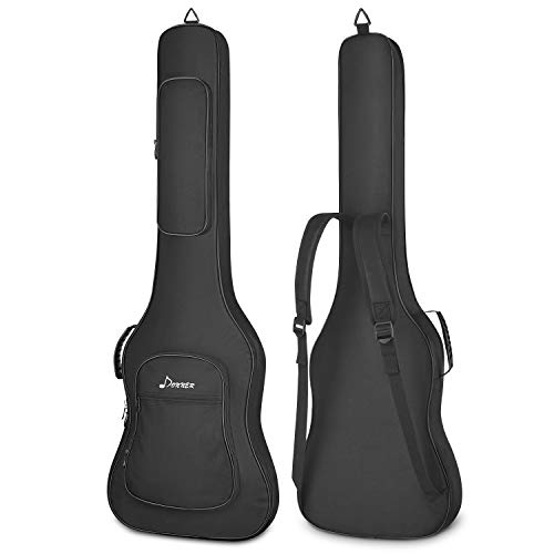 Donner Electric Bass Guitar Gig Bag 0.5in Padded Sponge 600D Thick Ripstop Waterproof Nylon 3 Pockets Adjustable Dual Backpack Straps Soft Carry Case for Home Storage Travel Black