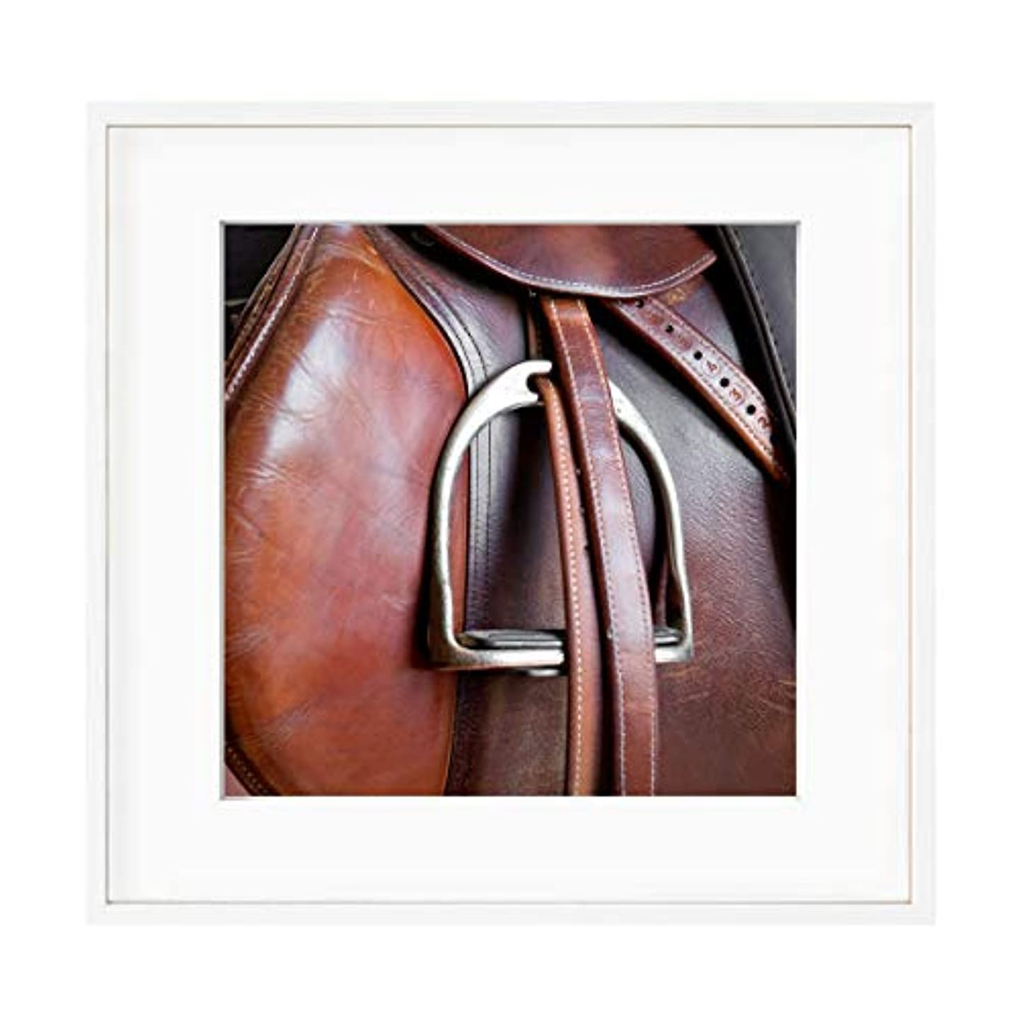 Horse Riding White Varnished Wooden Frame with Mount, Multicolored, 60x60