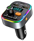 TEUMI FM Transmitter for Car Bluetooth 5.0, [Type C Charging] [8 LED Backlit]