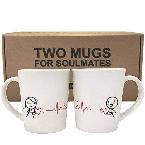BOLDLOFT Love You with Every Beat of My Heart Couple Coffee Mugs-Couple Gifts,Girlfriend Gifts,Boyfriend Gifts for Anniversary Valentines Day Christmas Long Distance Relationships Gifts