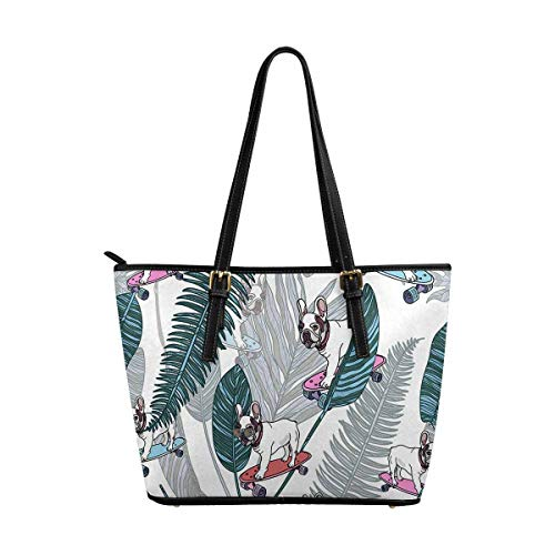 InterestPrint French Bulldog on Skateboard and Tropical Leaves Women Totes Top Handle HandBags PU Leather Purse