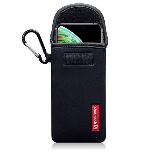 Shocksock, Kompatibel mit iPhone XS / iPhone X Neopren Tasche mit Carabiner Hülle - Schwarz EINWEG