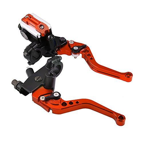 Keenso 1 Paar verstellbare Bremshebel und Kupplungshebel 7/8zoll Universal Motorradbremszylinder für Hauptbremszylinder(Rot)