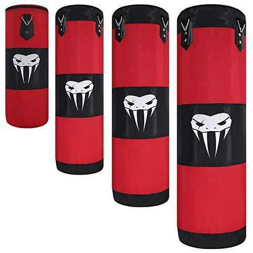 SOTF Boxsack zum Aufhängen, für Fitness, Muskeltraining, MMA, Boxen, Sandsack, ohne Füllung, Rot, Länge 100 cm