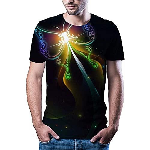 Shuangklei 3D Printing Summer Summer t Shirt for Lightning Landscape Printing Man-A_XS