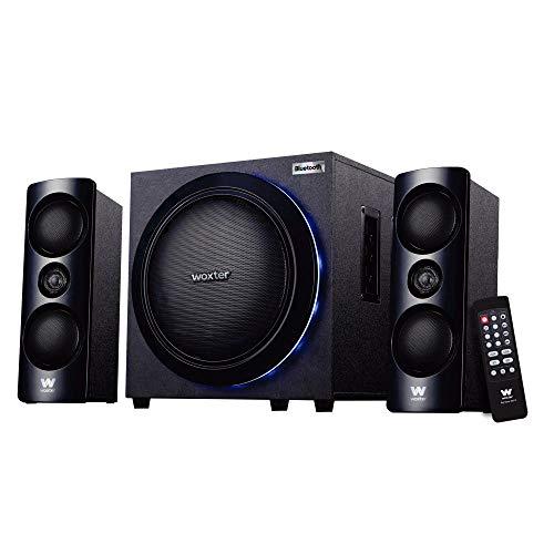 Woxter Big Bass 500R - Altavoces 2.1, 150W BLUETOOTH, LEDS, Subwoofer y Satélites de Madera, Botones de Control en Lateral, Mando a Distancia, SD, AUX y USB