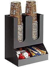 Pappbecherhalter desechable, organizador de portavasos de café de papel, sala de descanso vertical de 4 vías para café y especias, para el hogar, la oficina, los restaurantes, color negro