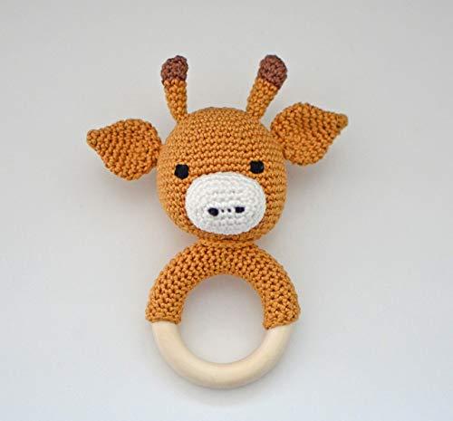 Babyrassel gehäkelt, Baby-Greifling mit Holzring / Beißring, Greifring Giraffe, Geschenk zur Geburt