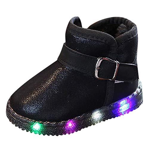 Snakell LED Schuh Bunte Winterstiefel Schneestiefel USB Aufladen 7 Farbe Leuchtend Schneeschuhe Winter Schuhe mit Warm Futter für Kinder Mädchen Damen Mode Mädchen Jungen﹛Leuchtend LED rutschfeste﹜