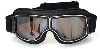 <h2>Vintage Motorradbrillen Schutzbrille für Pilot, schwarz/versilbern Brillenglas</h2>