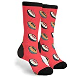 MXPINK Rugby Ball Novelty Socks For Women & Men , Black and White, One Size