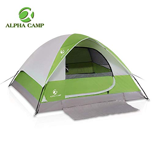ALPHA CAMP 2-Person Camping Dome Tent with Carry Bag, Lightweight Waterproof Portable Backpacking Tent for Outdoor Camping/Hiking