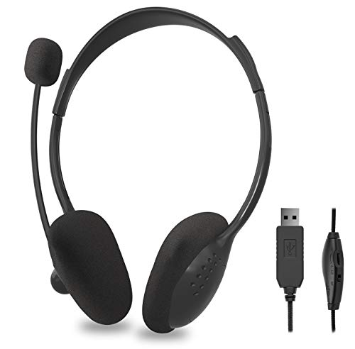 USB Headset with Microphone, Comfort-fit Office Computer Headphone, USB Call Center Headset, Wired headsets 270 Degree Boom Mic, in-line Control with Mute for Skype, Webinar