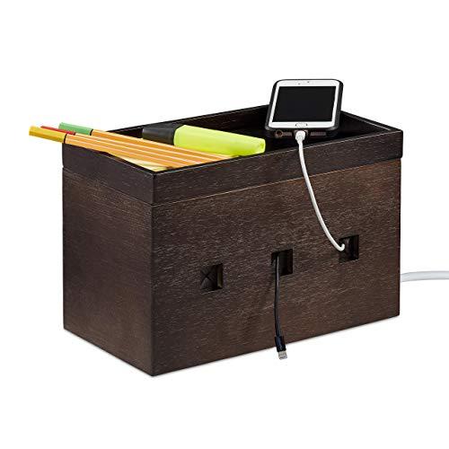 Relaxdays Kabelbox Bambus, Steckdosenleiste & Kabel verstecken, Kabelmanagement Schreibtisch, HBT 16,5x25,5x14cm, braun