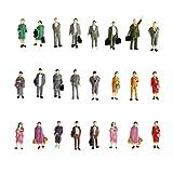 Lot de 24 figurines de modélisme peintes Personnes attendant le train Échelle HO (1:87) P87-12