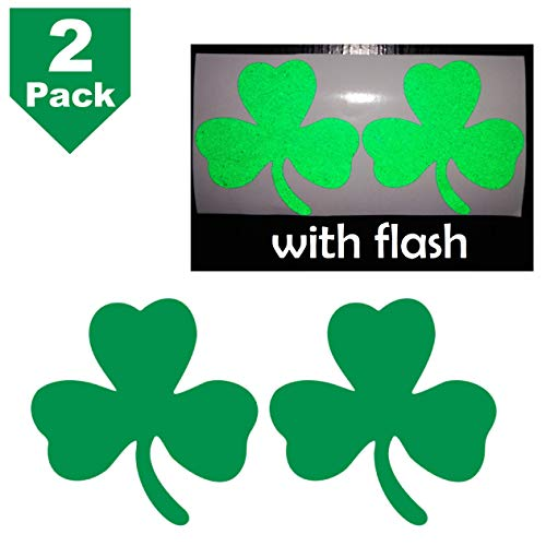 "2.5"" Clover 3-Leaf Shamrock Lucky Irish Flag Safety Green Reflective Decal Vinyl Sticker High Visibility for Motorcycle Bike Bicycle Car Helmet Tailgate Mobile Phone Laptop Notebook Window"