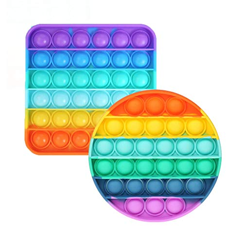 Webcat 2 Stück Silikon Push Pop Bubble Sensory Fidget Toy, Rainbow Push Popit Bubble Sensorisches Zappeln Spielzeug, Handkreisel Luftpolster Fidget Toys