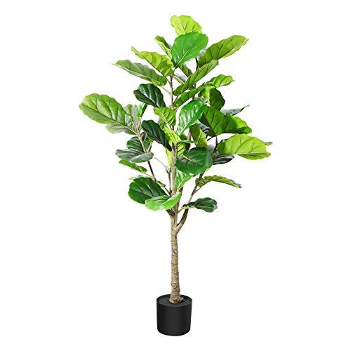 DR.Planzen Plantas Artificiales Decorativas 130 cm Ficus Lyrata Artificial Grandes Interior y Exterior Arbol Artificial Plastico Hogar Salon Dormitorio Balcón Moderno Decorativas(1 Pack)