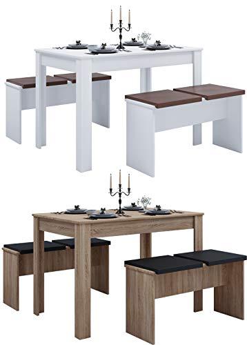 VCM Tischgruppe Sitzgruppe Essgruppe Holztisch Esstisch Tisch Esal XL Weiß