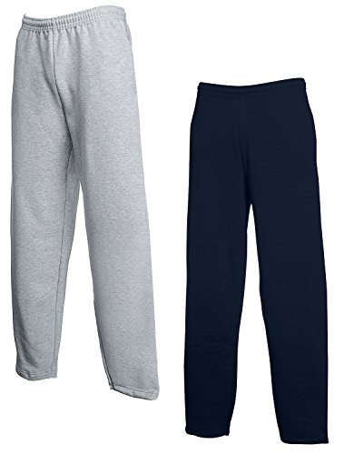 2er Set FRUIT OF THE LOOM Jogginghose S-M-L-XL-XXL Herren Jogpants L,1x Grau + 1x Navy