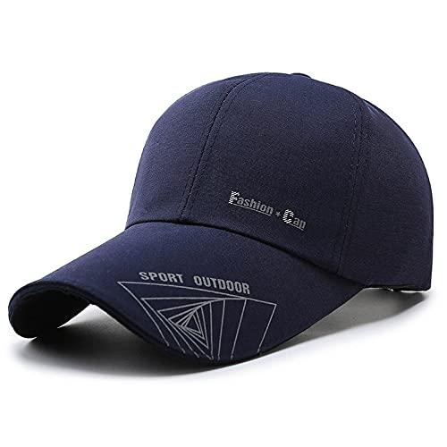 KGMO Hombres Primavera Otoño Lona Gorra De Béisbol Sombrilla Aleros Largos Impreso Pesca Golf Conductor Sombrero Ajustable Azul