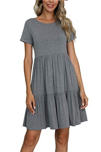 levaca Summer Casual Short Sleeve Tiered T-Shirt Tunic Short Dress Dark Gray XL