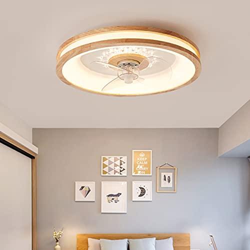 Madera Lamparas Ventilador De Techo 3 Velocidades Dormitorio LED Regulable Ventilador Techo Con Luz Y Mando Moderno Ultradelgado Silencioso Ventilador Techo Con Luz Y Temporizador