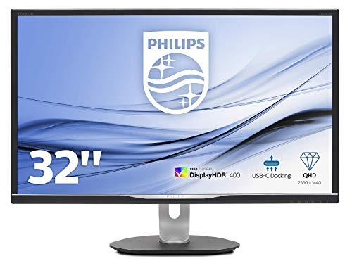 Philips 328P6AUBREB/00 80 cm (31,5 Zoll) Monitor (Displayport, HDMI, IPS Panel, USB Docking Monitor, USB-C, 4 ms, 2560 x 1440, Pivot) schwarz