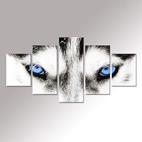 iHAPPYWALL Large Canvas Wall Art Black and White Wolf Dog With Blue Eyes Poster Animal Face Head Series 5 Pieces Abstract Picture Painting Home Decor Wall Art