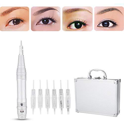 Permanent Makeup Tattoo Machine, Multifunction Digital Microblading Pen with 6 Needles, Rotary Eyebrow Tattoo Pen Cartridge Needles for Eyebrow Lip Eyeliner Makeup Semi Permanent Beauty (US)
