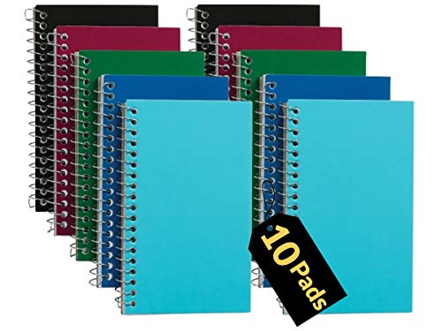 1InTheOffice - Libros de notas en espiral, 3 x 5 pulgadas, con rayas universitarias, pequeño bloc de notas de 3 x 5, surtidos, 75 hojas/almohadilla, 10 almohadillas por paquete