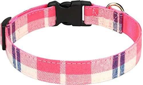 Taglory Collar Perro, Collar Nylon Ajustable para Perros Mediano, Tela Escocesa Rosa
