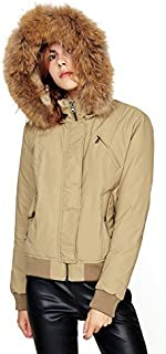 Escalier Women's Down Coat Puffer Jacket with Removable Fur Hooded