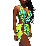 Vestito sexy da donna con scollo all'americana Y2K Backless Party Club Vestito tagliato fuori Abiti senza maniche Serbatoio spiaggia mini abito D-verde L