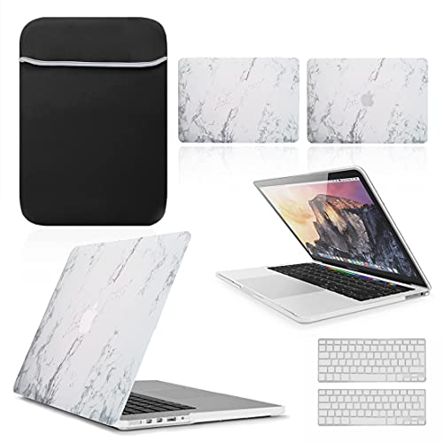 BUNDLE - Hard Shell Case with matching Keyboard Skin & Neoprene Sleeve Cover for Apple MacBook [13-inch Air - A1932] - [2018-2019] (Retina), [MARBLE WHITE]