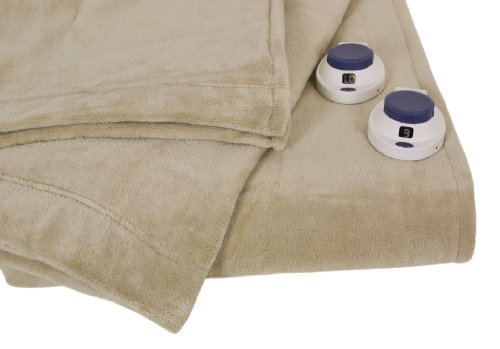 Serta | Luxe Plush Fleece Heated Electric Blanket with Safe & Warm Low-Voltage Technology Queen Pearl