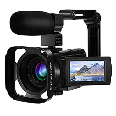 IEBRT 4k Video Camera Camcorder, Vlogging Camera for YouTube 48MP 16X Digital Zoom IR Night Vision 3.0 Inch Touch Screen with Microphone WiFi 2 Batteries and Lens Hood from IEBRT