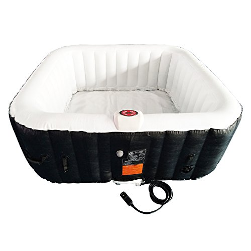 ALEKO HTISQ4BKWH Square Inflatable Hot Tub Spa with Cover, 4 Person Portable Hot Tub - 160 Gallon...
