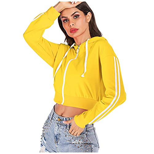 Hapae Women's Long Sleeve Hooded Sweatshirt Pullover Womens Solid Color Drawstring Zip Up Short Jackets Coat Teenage Girls Autumn Casual Loose Short Outwear Tops Blouse (Yellow,L)