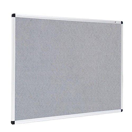 VIZ-PRO Notice Board Felt Gray, 48 X 36 Inches, Silver Aluminium Frame