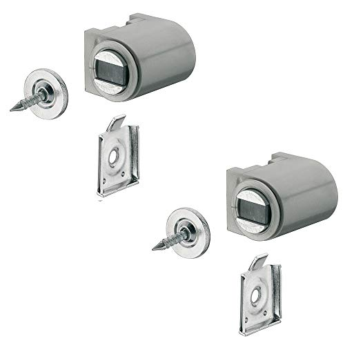 Magnetverschluss silber mit Anschraubplatte Magnetschnapper Tür zum Schrauben - H2059 | Türmagnet Haftkraft 4,0 kg | MADE IN GERMANY | 2 Stück mit Gegenplatte