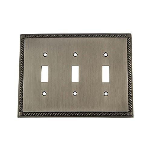 Nostalgic Warehouse - Placa de interruptor de cuerda con triple palanca, blanco, 719820