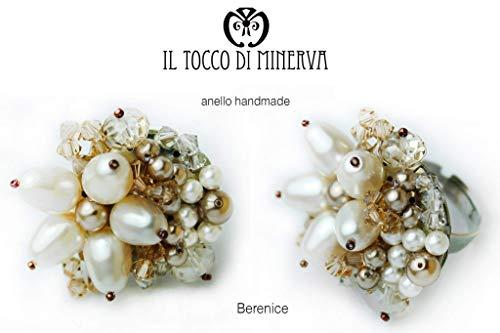 Paloma gris perla anillo de swarovski Berenice hecho a mano Made in Italy