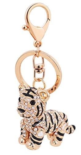 Schlüsselanhänger, süßer Tiger, Metall, Strasssteine, Anhänger für Handtaschen, Schlüsselanhänger, Strass Metall, weiß