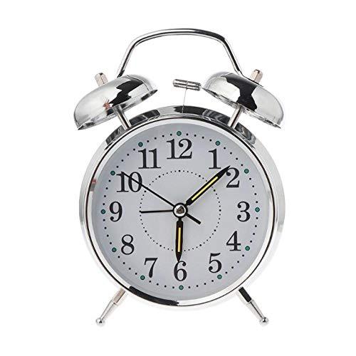 FPRW wekker met dubbele bel, voor het spelen van klokken, moderne klok, eenvoudige klok, mechanische wind, kern van koper van metaal, sterk horloge, zilverkleurig