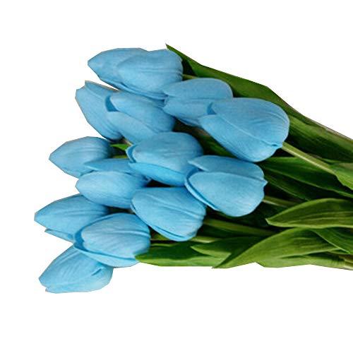 Alisy Lot de 10 Tulipes artificielles en Latex au Toucher réaliste pour Bouquet de mariée ou décoration intérieure 35cm Bleu