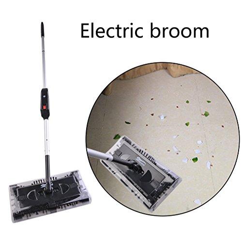 Elektrischer Besen Akku Kehrbesen Aufladbar Kabellos Kehrer mit 4-seitiges 360° Bürstensystem Geeignet für Haus Büro Reinigung (Schwarz) - 2