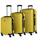 ITACA - Juego Maletas de Viaje Rígidas 4 Ruedas Trolley 55/64/73 cm ABS. Resistentes Cómodas Prácticas y Ligeras. Pequeña Cabina Mediana y Grande 771100, Color Amarillo