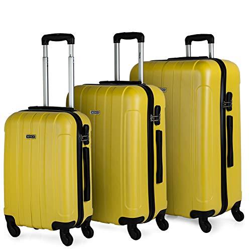 ITACA - Juego Maletas de Viaje rígidas 4 Ruedas Trolley 55/64/73 cm abs. s cómodas prácticas y Ligeras. pequeña Cabina Mediana y Grande 771100, Color Amarillo